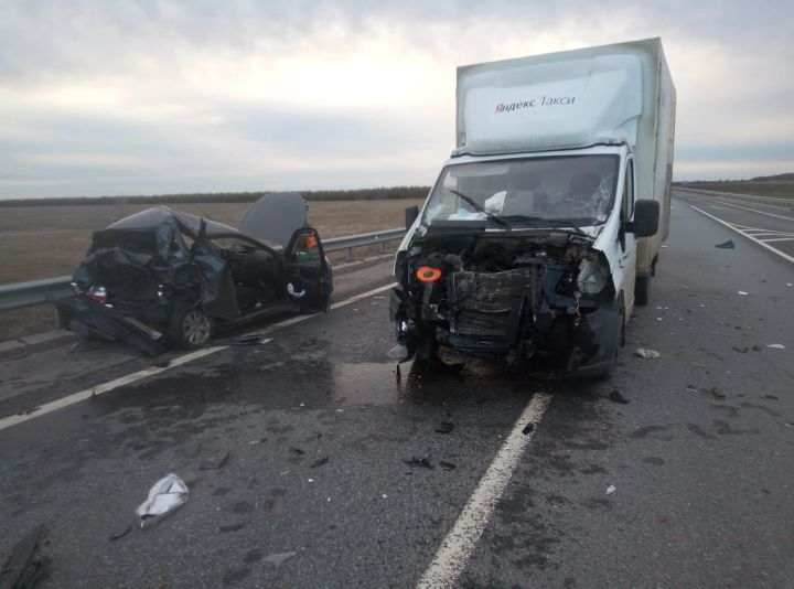 На трассе в Татарстане произошло лобовое столкновение легковушки и грузовика